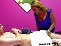 Busty slut gives a great massage and gets him real hard