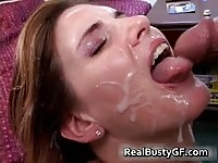 Gorgeous mom face covered with gooey cum