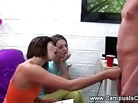 Teens take turns to show their bj skills