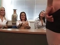 Clothed secretaries watch their boss masturbate