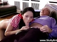 Babe spoils an old mans cock