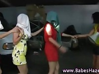 Blindfolded teens in transit are stripped off