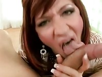 Cock addict milf gives rough blowjob