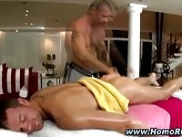 Handsome clients gets a massage