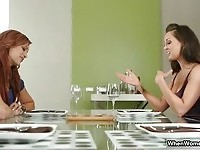 Two stunning rich babes playing