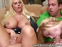 Extra large boob mom joining her daughter during sex