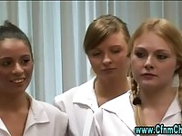 Stunning schoolgirls stripping their professor
