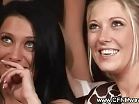 Gorgeous babes watching stiff cock blasts warm cum