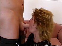 Horny mature mom loves sucking young cock