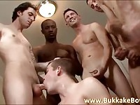 Horny gay stud takes on his friends for fun