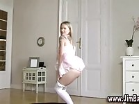 Teen turns ballerina after choosing a hot outfit to please mature cock