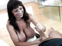 This mom wanks some dudes cock