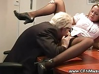 Secretary gets licked by an old man