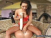 Nasty lesbos licks and dildo rips their juicy holes