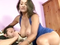 Sexy MILF gives handjob and titfuck