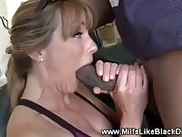 Huge tits milf gets surprised by his jumbo interracial dick
