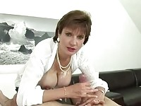 Mature blowjob bitch Lady Sonia gets cock to gobble down