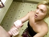 Blonde MILF sneaks off to bathroom to grease up guys pole