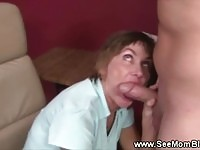 Horny brunette milf therapist sucks on her patients cock