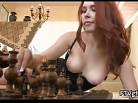 Hot brunette babe gets horny showing off her wet pussy