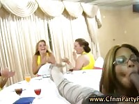 Amateur cfnm party sluts give stripper blowjob