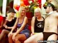 Horny CFNM babes get tempted by stripper cock at party