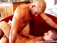Horny muscle pornstar fucking tight ass and loves it