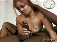 Tempting asian bombshell plays with a gigantic ebony dick