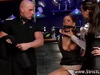 Lezdom slut restrained for dominatrix
