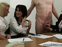 Corporate babes tug cock for their very lucky subject