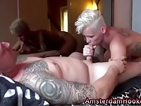 Blonde whore gets on the job