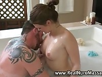 Nuru masseuse giving nuru massage blowjob to lucky guy