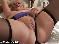 Dutch granny masturbating