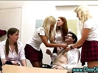 Four cfnm schoolgirls wanking their teacher
