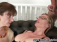 Mature brit ffm threesome jerkoff cum facial