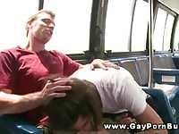Gay couple in city bus action