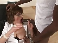 Busty cougar mom taking on a massive black shaft