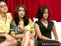 Dirty cfnm babes judging wank action