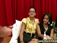 Sexy chicks watching a dude wanking