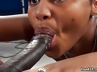 Cute chocolate babe fucked hard by a stud twice her size.