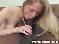 Shy blonde loves large dong!