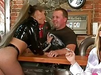Naughty babes torturing their bartender