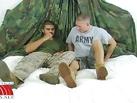 Two soldiers in anal action