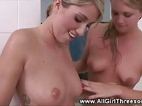 Three young babes in a public toilet