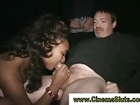 Naughty ebony sucking in cinema