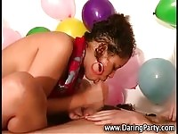 Party amateur ebony teen milking this stud's cock