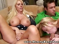 A busty stepmom fucking along her daughter