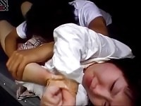 Bound asian teen gets her body licked and her pussy stretched
