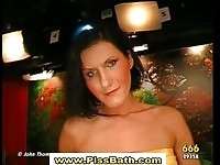 Two watersports babes sucking cocks and soaked in piss