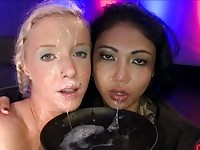 Hot bukkake fetish babe sucking cocks and getting facials